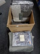 A box of Marks & Spencer cotton bed sets, Union Jack throw,