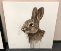 David Rees : Cotton Tail, triple strike flatbed print in colours on boxed canvas,