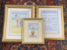 Faye Whittaker : Study of a Young Boy on a Beach Holding a Teddy Bear, watercolour, signed,