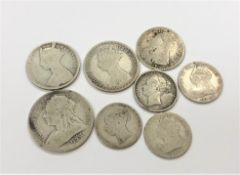 A group of Victorian coins to include 1893 half crown, Gothic florin, 1849 florin,