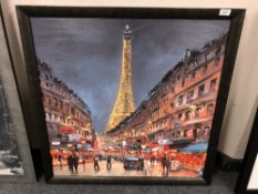 Henderson Cisz : Le Tour Eiffel, hand embellished giclee print in colours on canvas,
