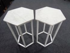 A pair of hexagonal marble topped plant stands on metal legs CONDITION REPORT: