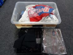 A crate of new and un-used clothing by Marks & Spencer, scarf sets,
