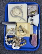 A tray of costume jewellery, watch,
