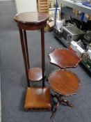 An Edwardian inlaid mahogany circular two tier plant stand together with an Edwardian footstool and