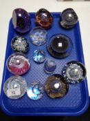 Thirteen decorative paperweights - Selkirk Glass, etc.