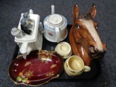 A tray of Carlton ware Rouge Royale dish, large ceramic horse head ornament,