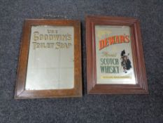 Two Edwardian advertising mirrors - Goodwin's Toilet Soap and Dewar's Scotch CONDITION