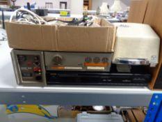 A Quad 303 power amplifier together with Quad control unit, Denon TU-260L tuner,