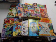 A box of vintage comics, DC comics, Superman etc,