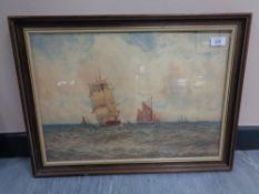 William Thomas Nichol Boyce (1857-1911) : Shipping Under Sail and Steam on Choppy Waters,
