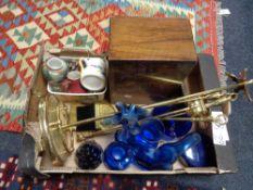 A box of brass fire companion set, Victorian jewellery box,