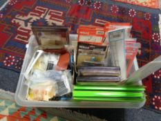A crate of railway modelling parts and accessories,
