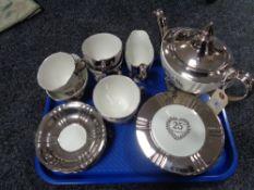 A mid century Royal Winton 25th Anniversary tea set (20)