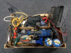 A box containing tools, woodworking tools,