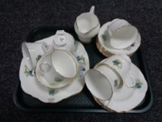 A tray of Duchess gilded floral tea china