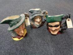 Three large Royal Doulton character jugs - Dick Turpin,