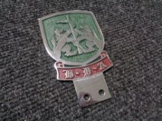 A vintage motor car badge - BDA motorclub