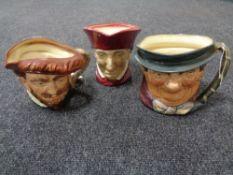 Three large Royal Doulton character jugs - Drake,