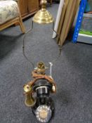 An early 20th century candlestick telephone/lamp