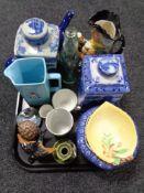 A tray of ceramic ornaments, china, commemorative beaker,
