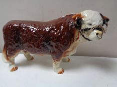A large china model of a Hereford bull