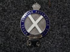 A vintage motor car badge - Royal Scottish automobilia club