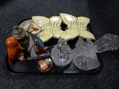 A tray of Royal Doulton dish, owl ornament, ceramic butterflies,