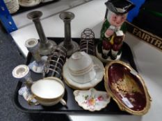 A tray of Carlton ware Rouge Royale dish, Staffordshire Toby jug, pewter candlesticks,