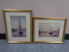 After Walter Holmes : Sailing Barge (With The Tyne Bridge Beyond), reproduction in colours, signed,
