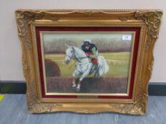 J L Auld : Desert Orchid, oil on canvas, signed, 30 cm x 40 cm, framed.