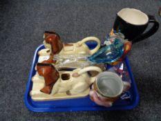 A tray of Tony Wood novelty teapots,