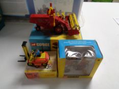 A Dinky toys conveyancer forklift truck together with Corgi toys, Massey Ferguson 165 tractor,