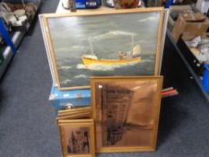A vintage trunk together with copper finished pictures depicting Glasgow Cathedral etc,