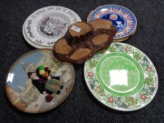 A Beswick display stand together with Maling plate,