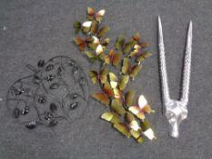 Three pieces of wall art, butterflies,