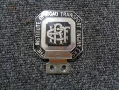 A vintage motor car badge - The institute of road transport engineers