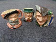 Three large Royal Doulton character jugs - Falstaff,