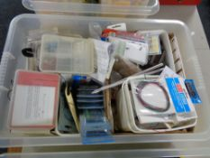 A box of model making parts, accessories,