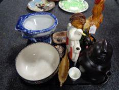 A tray of ceramic ornaments, Maling bowl,