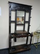 A Victorian oak mirrored hall stand