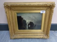 George Balmer (1806-1846) : Marsden Rock, oil on panel, 16 cm x 21 cm,
