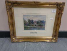 Walter Scott Wood (1867 - 1929) : Ovingham Village 1923, watercolour, signed, 16 cm x 22 cm, framed.