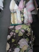 A quantity of cushions and bed throw CONDITION REPORT: Throw approximately 220 cm x