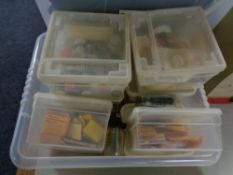 A box of a large quantity of model making paints,