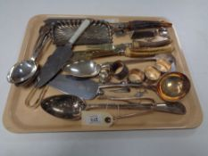 A collection of antique and later cutlery, basting spoon, horn handled scoup etc.