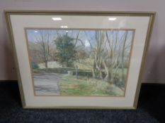 A decorative gilt framed picture, oil on canvas of a flower, watercolour drawing of a bridge,
