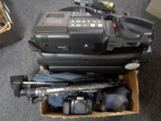 A Nikon F601 camera together with a good quality camera case, FC23 VHS recorder, tripod,
