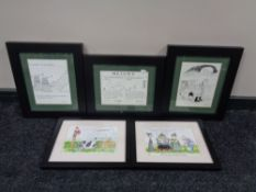 Three monochrome humorous prints and a pair of prints depicting cattle