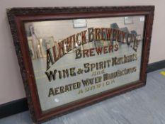 "A Twentieth Century Advertising Pub Mirror - ""ALNWICK BREWERY CO. LTD."